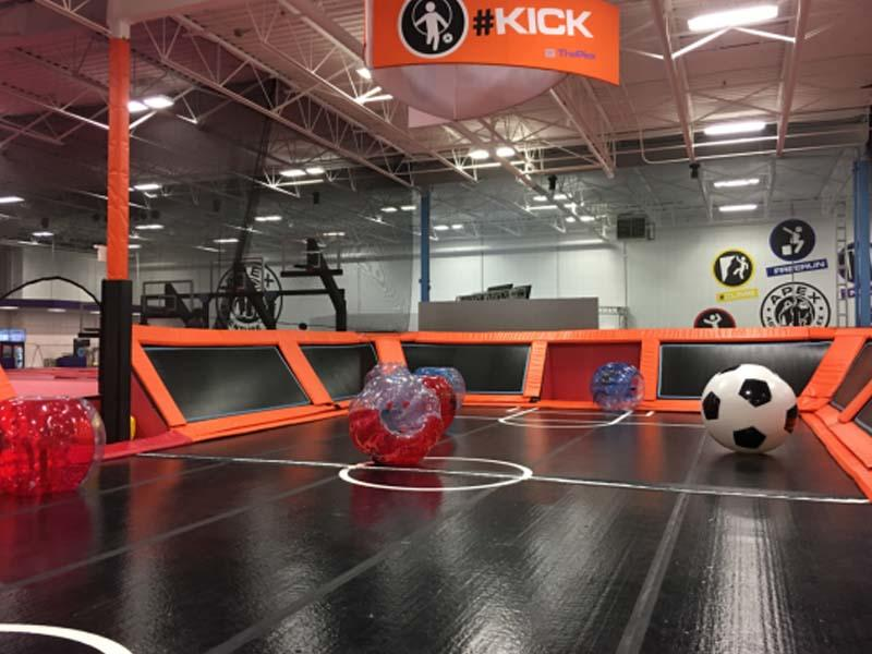Air track & bubble soccer in Trampoline park