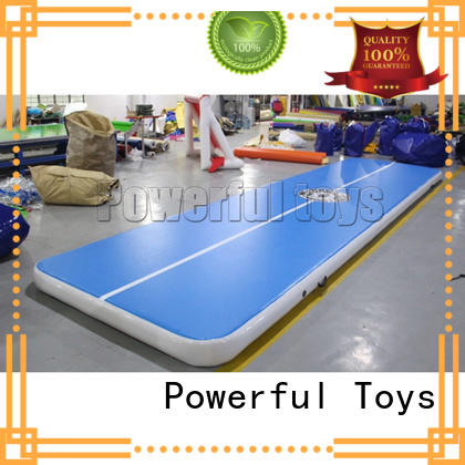 Powerful Toys blue air track tumbling mat gymnastics for big trampoline