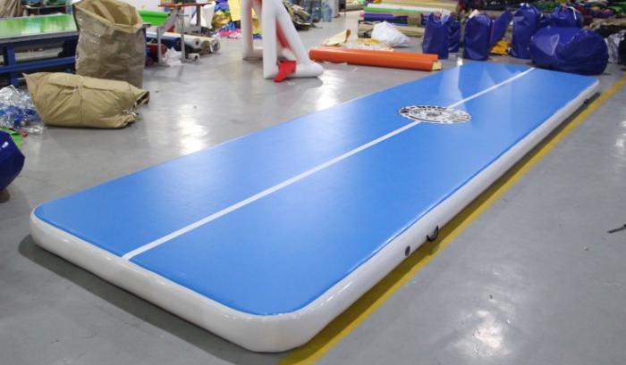 blue air track slip and slide for big trampoline-1