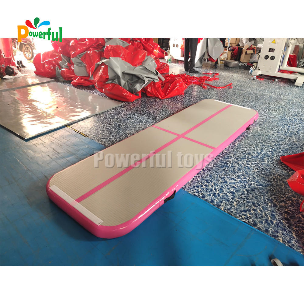 Powerful Toys blue air track trampoline mat for cheer leading