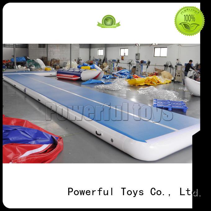 Powerful Toys longest air track slip and slide blue cheerleading