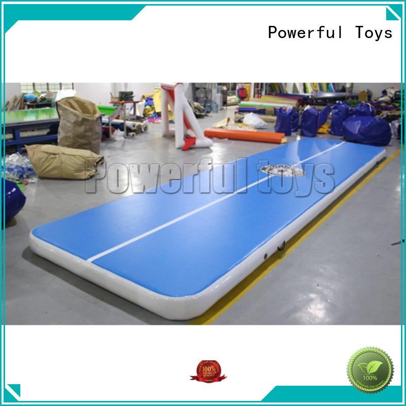 blue air track slip and slide for big trampoline