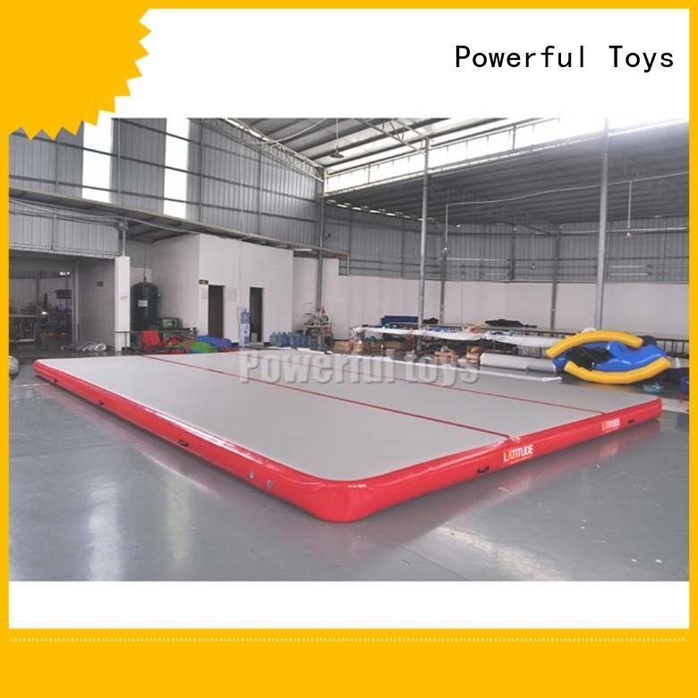 Powerful Toys longest air track trampoline blue for big trampoline