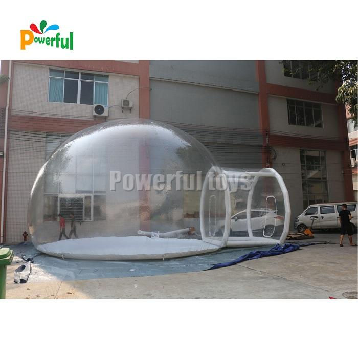 8m DIA outdoor camping transparent inflatable crystal bubble dome tent with tunnel