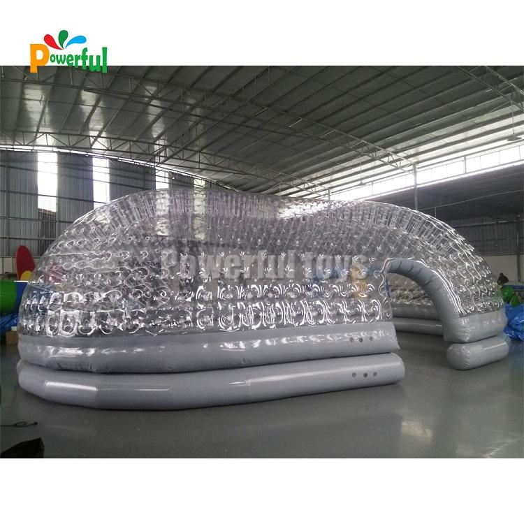 Inflatable clear tent cover for swimming pool in 10x6m size
