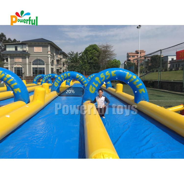 200m commercial inflatable slide the city double lanes slip n slide